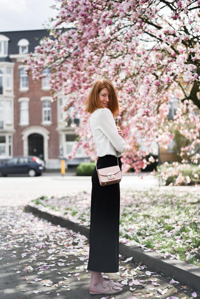 Black culottes outfit