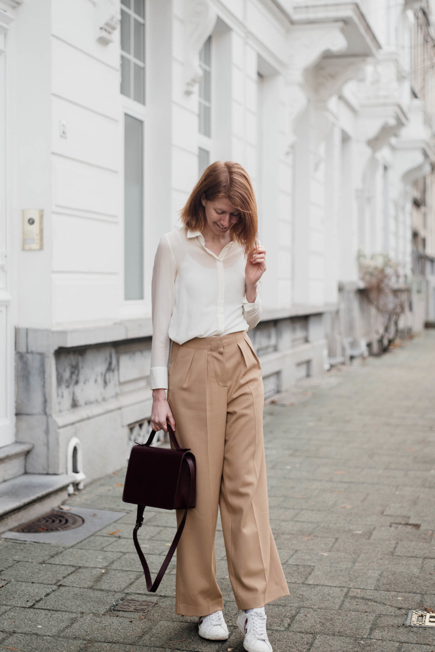 Winter outfit wide leg trousers with veja sneakers