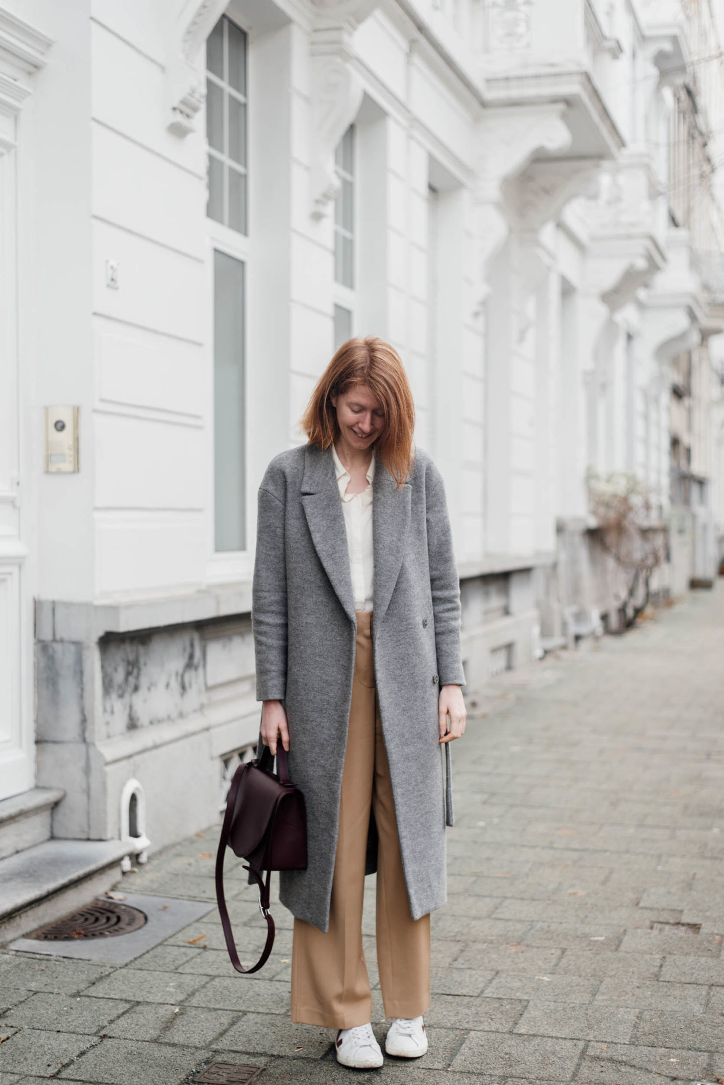 Winter outfit wide leg trousers with grey coat