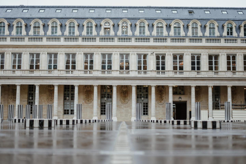 Les Deux Plateaux Colonnes de Buren at Palais Royal in Paris