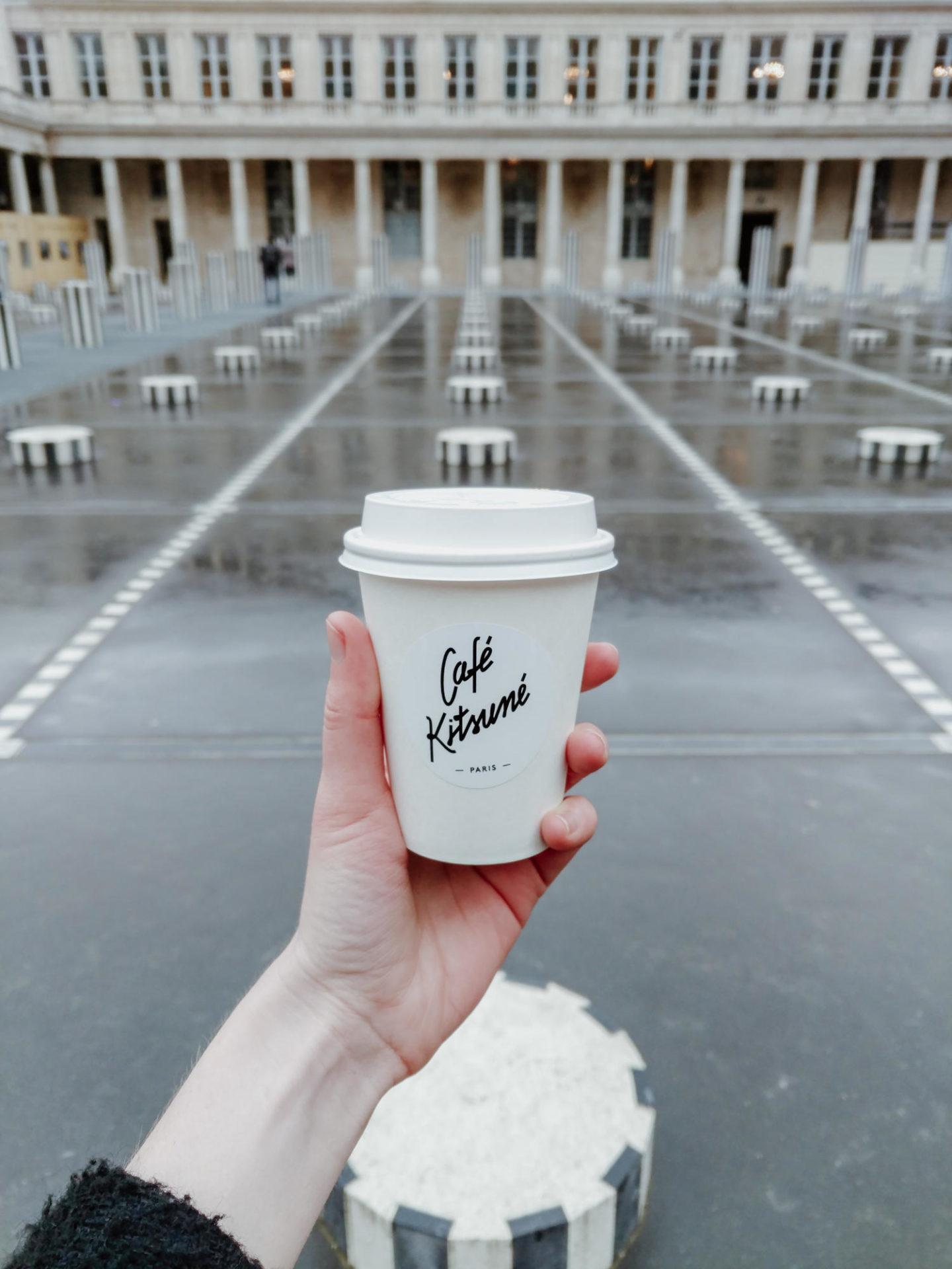 Café Kitsuné and Les Deux Plateaux Colonnes de Buren at Palais Royal in Paris