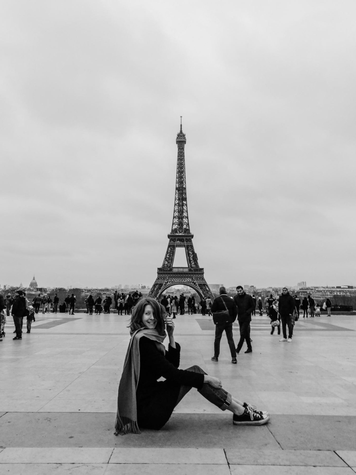 girl with eiffel tower black and white
