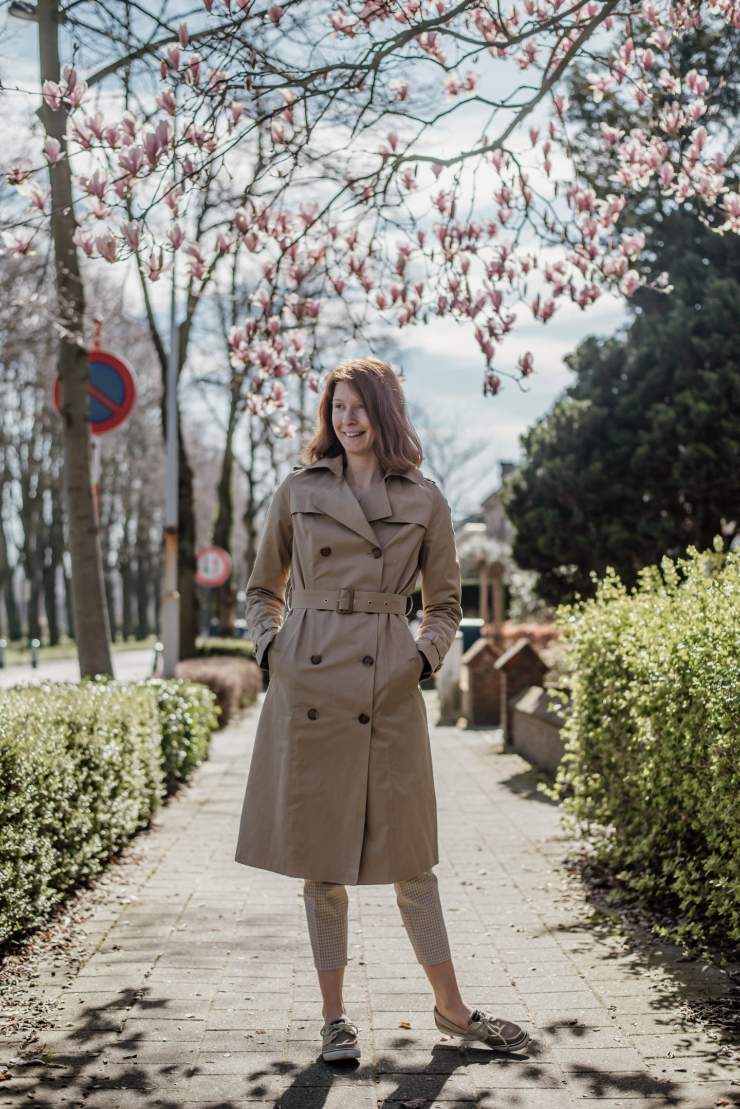women's outfit with trench coat