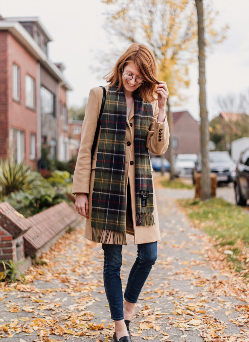 Camel Coat + Plaid Scarf